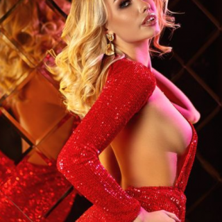 free strip tease red dress blond